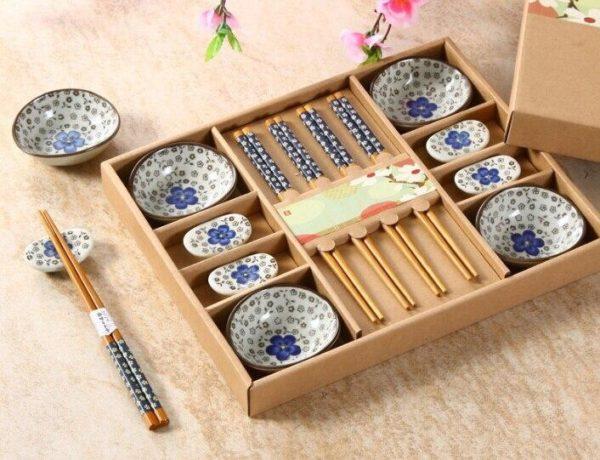 Vaisselle à sushis cerisier bleu