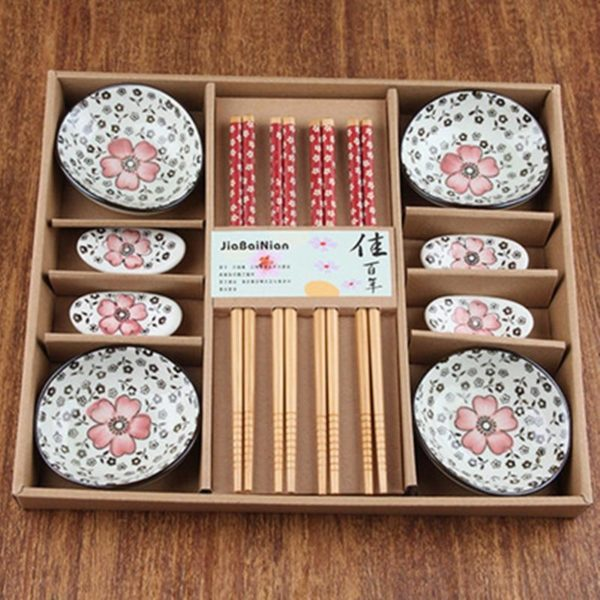 Vaisselle à sushis cerisier rouge